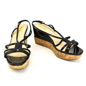 PRADA: Black, Leather & Cork Wedge Strappy Sandals
